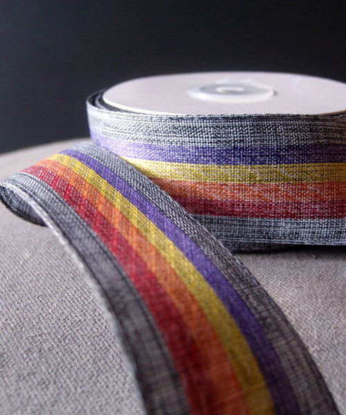Vintage Cloth Striped Rainbow Ribbon - Gray