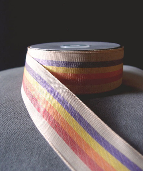 Vintage Cloth Striped Rainbow Ribbon 337-06, Wholesale Ribbon | Packaging Decor