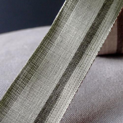 Vintage Cloth Striped Ribbon - Gray