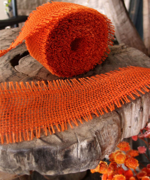 Burlap Jute Ribbon - Orange