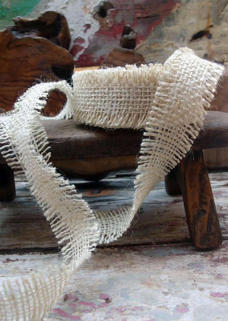 Burlap  Ribbon - Off White