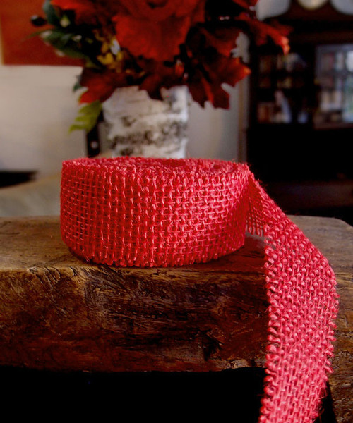 Burlap Ribbon - Red