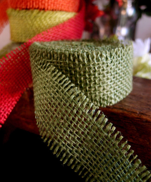 Burlap Ribbon - Moss