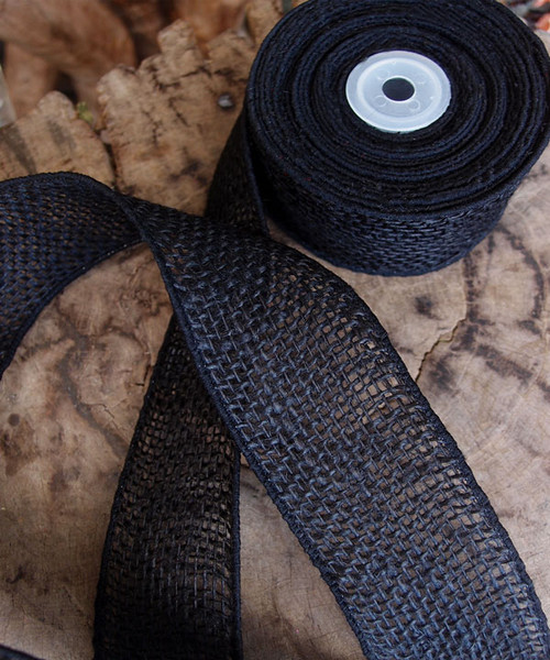 Burlap Wired Ribbon Black
