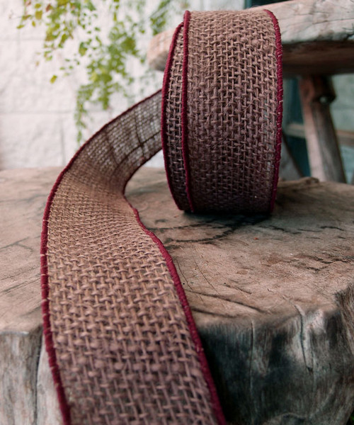 Wholesale Burlap Ribbon, Burlap Wired Ribbon Brown 559-41 | Packaging Decor