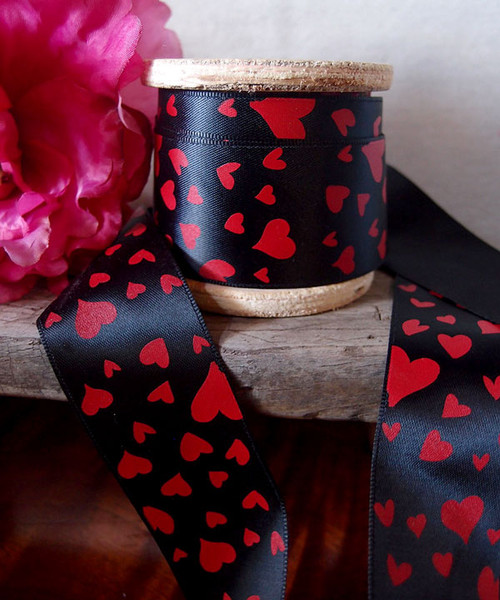 Black Satin Ribbon with Red Hearts