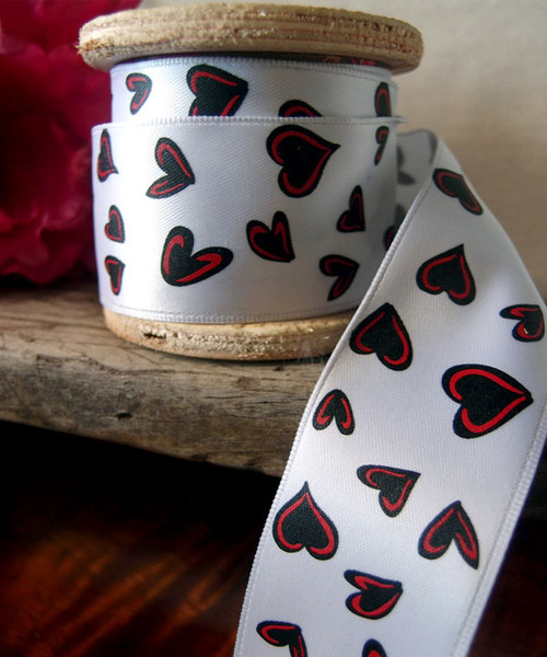 White Satin Ribbon with Black and Red Hearts