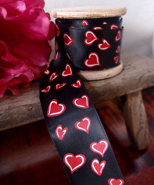 Black Satin Ribbon with Red and White Hearts