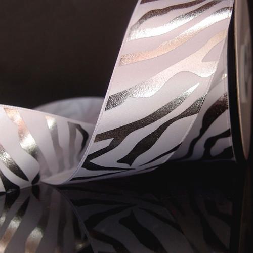 White Satin Ribbon with Silver Metallic Zebra Print