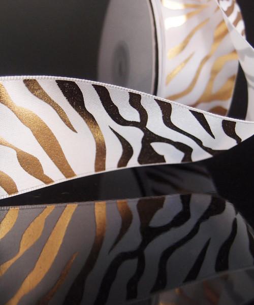 White Satin Ribbon with Gold Metallic Zebra Print