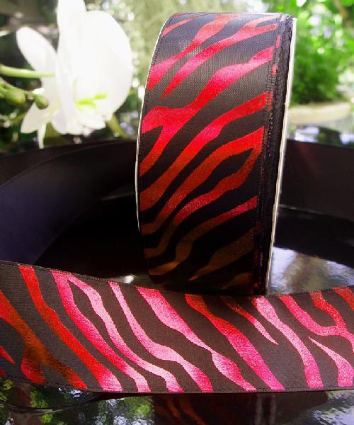 Black Satin Ribbon with Red Metallic Zebra Print