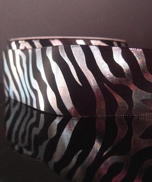 Black Satin Ribbon with Silver Metallic Zebra Print