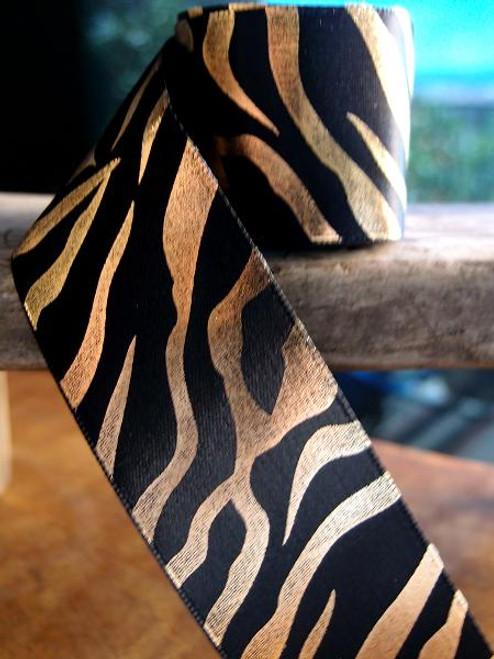Black Satin Ribbon with Gold Metallic Zebra Print