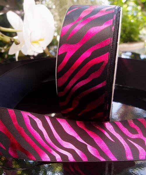 Black Satin Ribbon with Fuchsia Metallic Zebra Print
