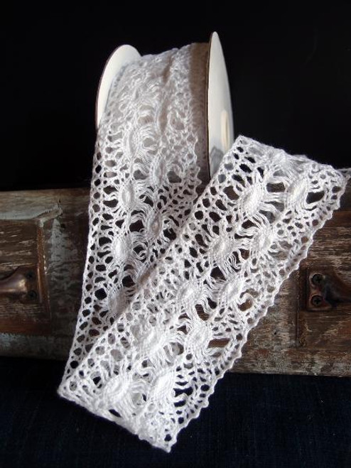 "2 1/2"" Cotton Crochet Lace Ribbon-White"
