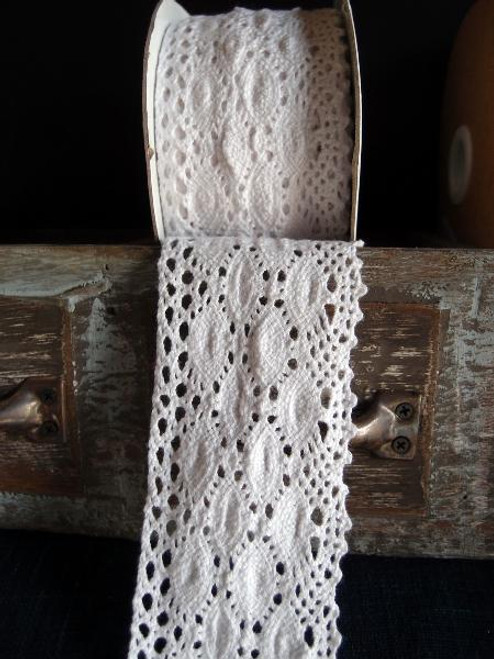 "2 1/2"" Cotton Crochet Lace Ribbon White"