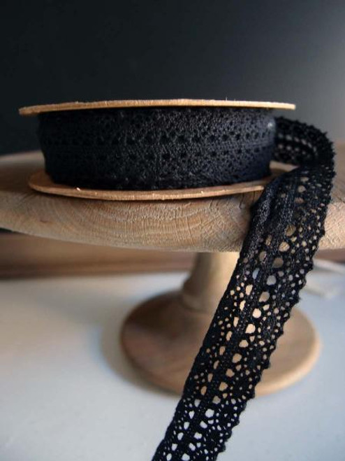 "1"" Cotton Crochet Lace Ribbon - Black"