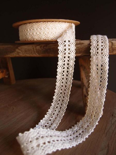"1"" Cotton Crochet Lace Ribbon-Ivory"