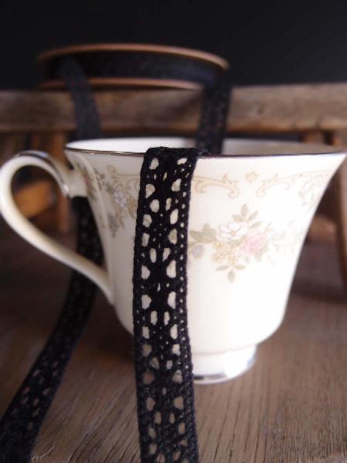 "1/2"" Cotton Crochet Lace Ribbon - Black"