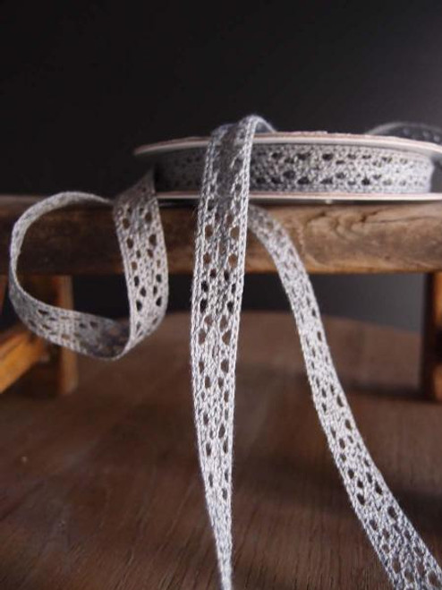 "1/2"" Cotton Crochet Lace Ribbon - Gray"
