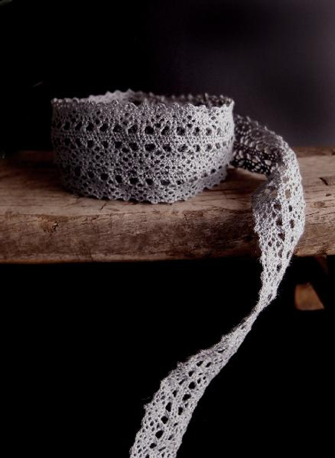"1"" Cotton Crochet Lace Ribbon-Gray"