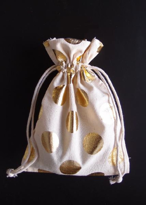 Cotton Bag with Big Gold Metallic Dots ( 2 sizes)