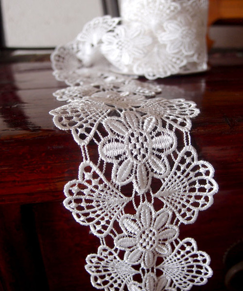 "3"" Embroidery Floral Lace Ribbon - White"