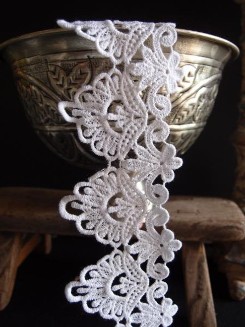 "3"" White Embroidery Floral Lace Ribbon"