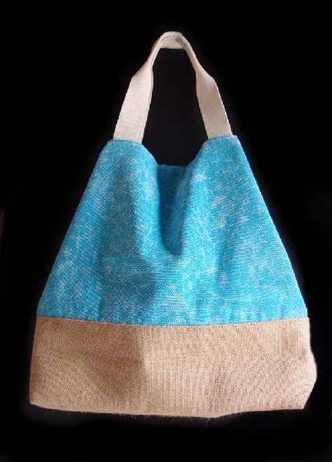 Washed Canvas Tote with Burlap - Light Blue