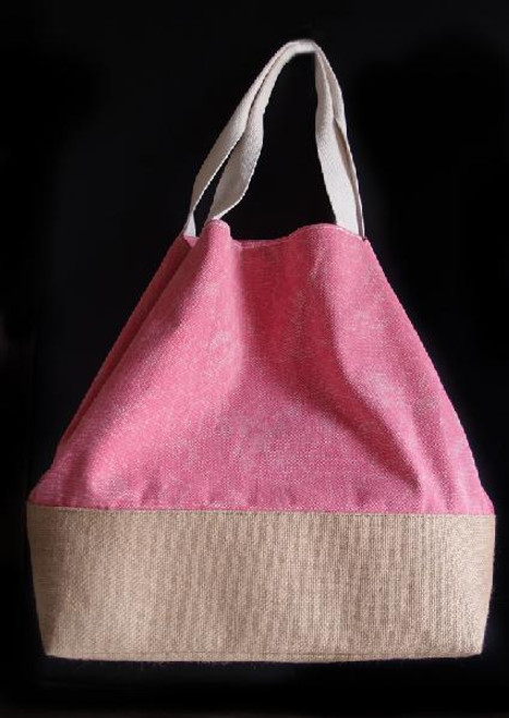 Washed Canvas Tote with Burlap - Pink