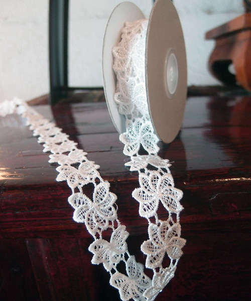 "1"" Embroidery Floral Lace Ribbon - Ivory"