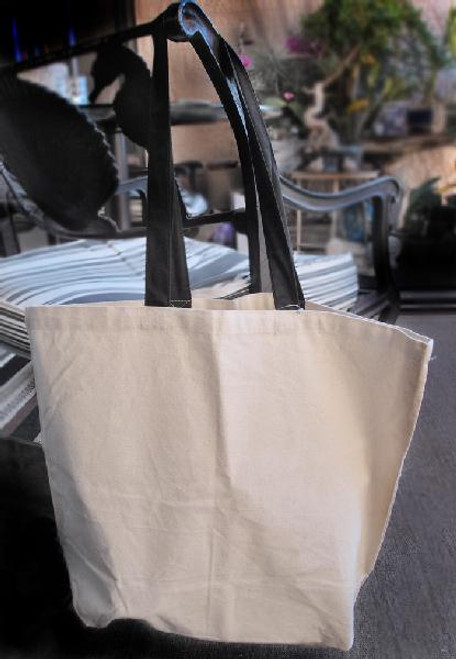"Cotton Canvas Tote Bag  w/ Black Handles 18"" x 15"" x 5 3/4"""