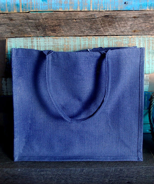 Navy Jute Shopping Tote Bag (3 sizes)