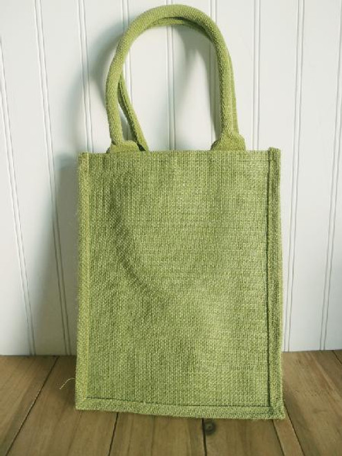 Moss Green Jute Shopping Tote Bag