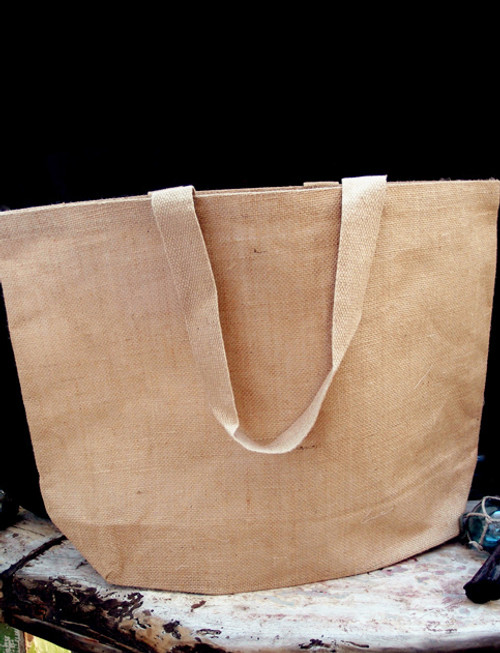 Jute Beach Bag w/Cotton Lining