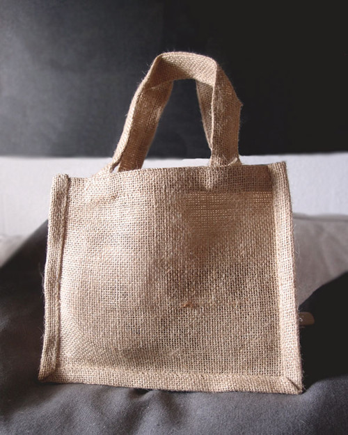 "Small Gusset Jute Bags Natural 7""x 6"" x 2"""