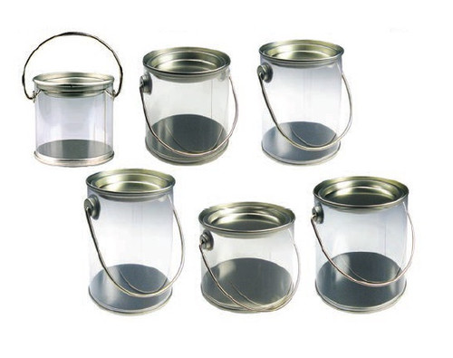 Clear Pail with Tin Lid & Metal Handle (6 sizes)