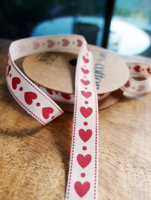 Red Hearts Printed Cotton Ribbon