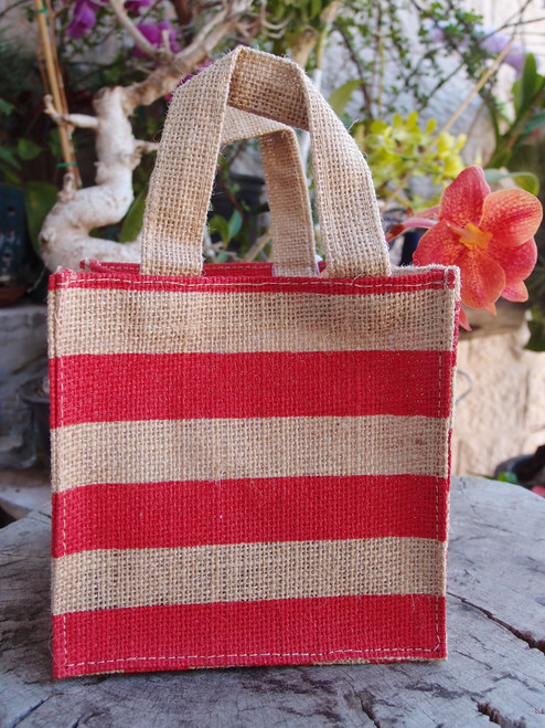 "Jute Plant Tote with Red Stripes - 6"" x 6"" x 6"""