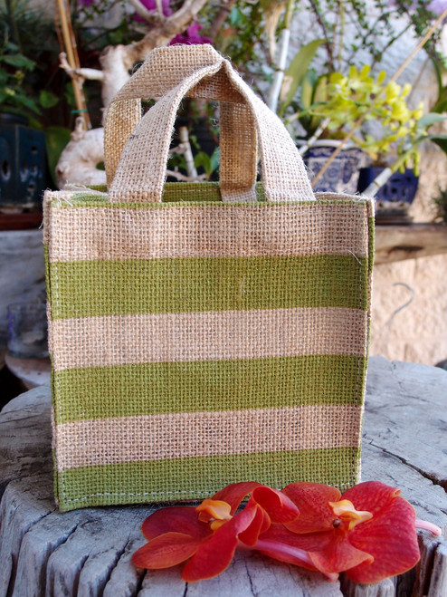 "Jute Plant Tote with Green Stripes - 6"" x 6"" x 6"""