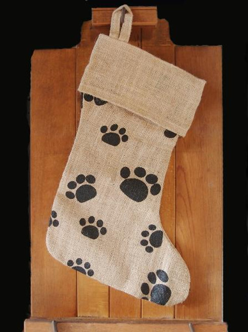 Jute Stocking with Paw Print 17""