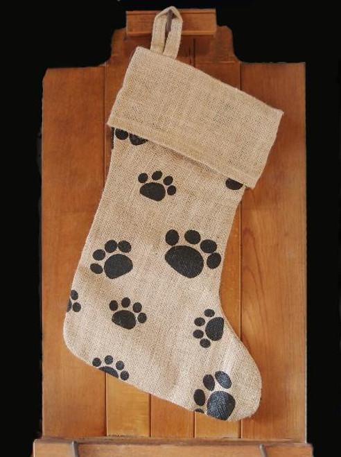 "17"" Jute Stocking with Paw Print"