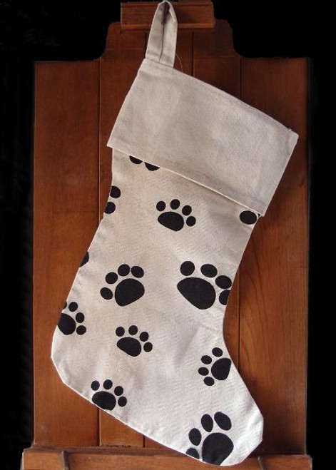 Canvas Stocking with Paw Print 17""