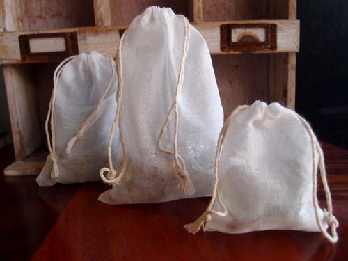 Wholesale Muslin Bags, Wholesale See-Through Cotton Drawstring Bags | Packaging Decor