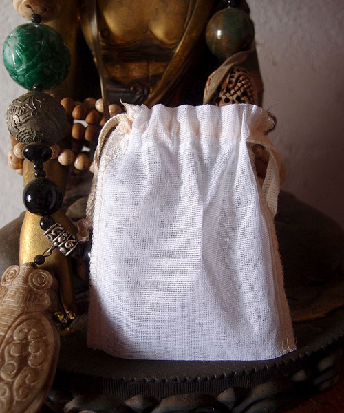 Cotton See-thru Muslin Bags with Ivory Serged Edge (8 sizes)