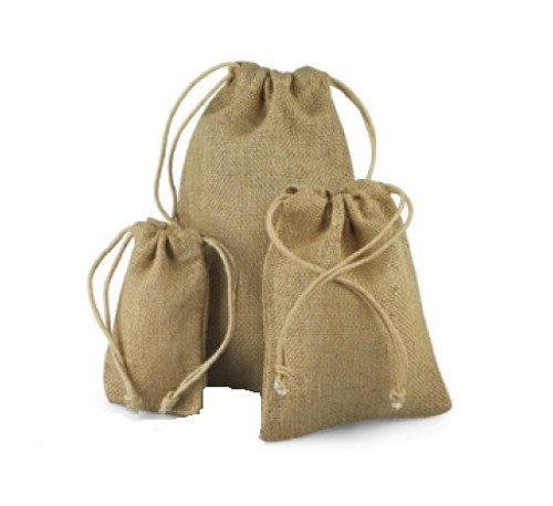 Natural Jute Bag with Cotton Cord  (8 sizes)