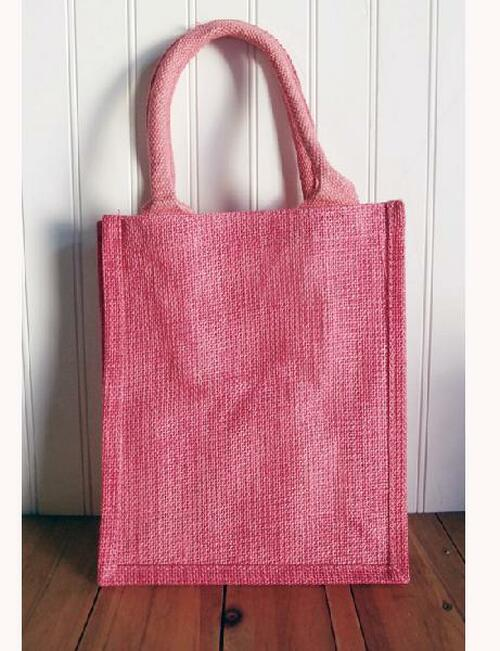 Pink Jute Shopping Tote Bag