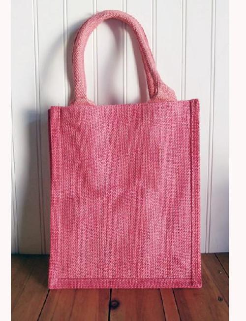 Pink Jute Shopping Tote Bag