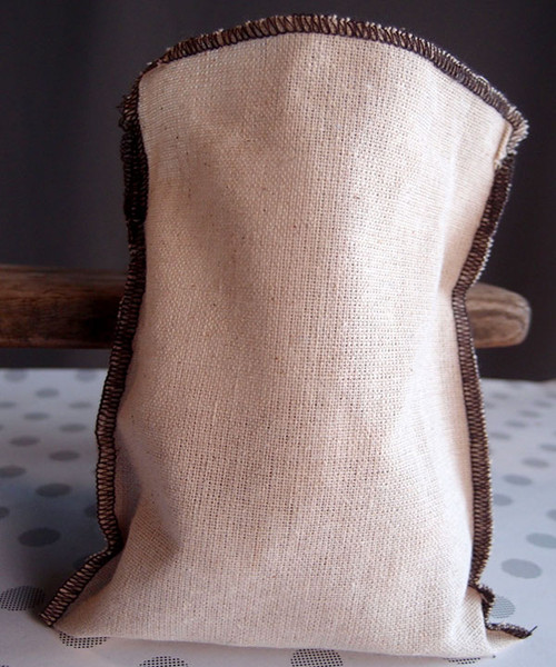 Linen Pouch with Brown Serged Edge (3 sizes)