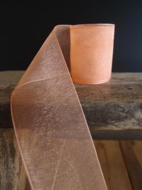 Peach Sheer Ribbon with Monofilament Edge (4 sizes)